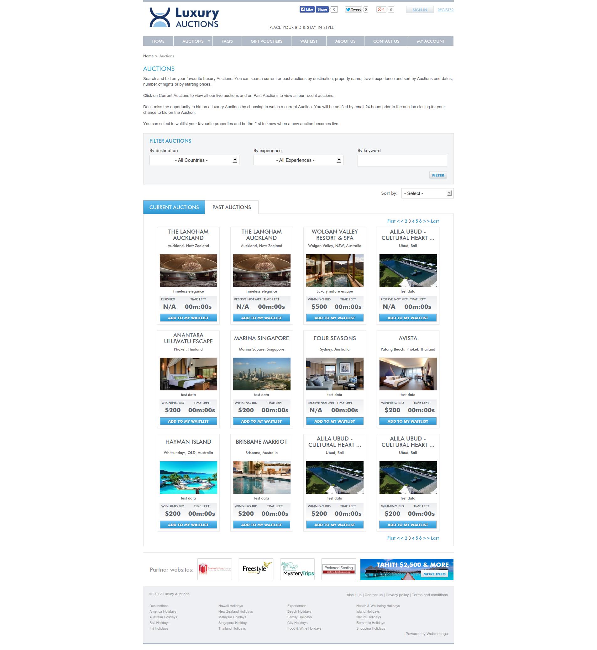 Luxury Travel Auction - Listing