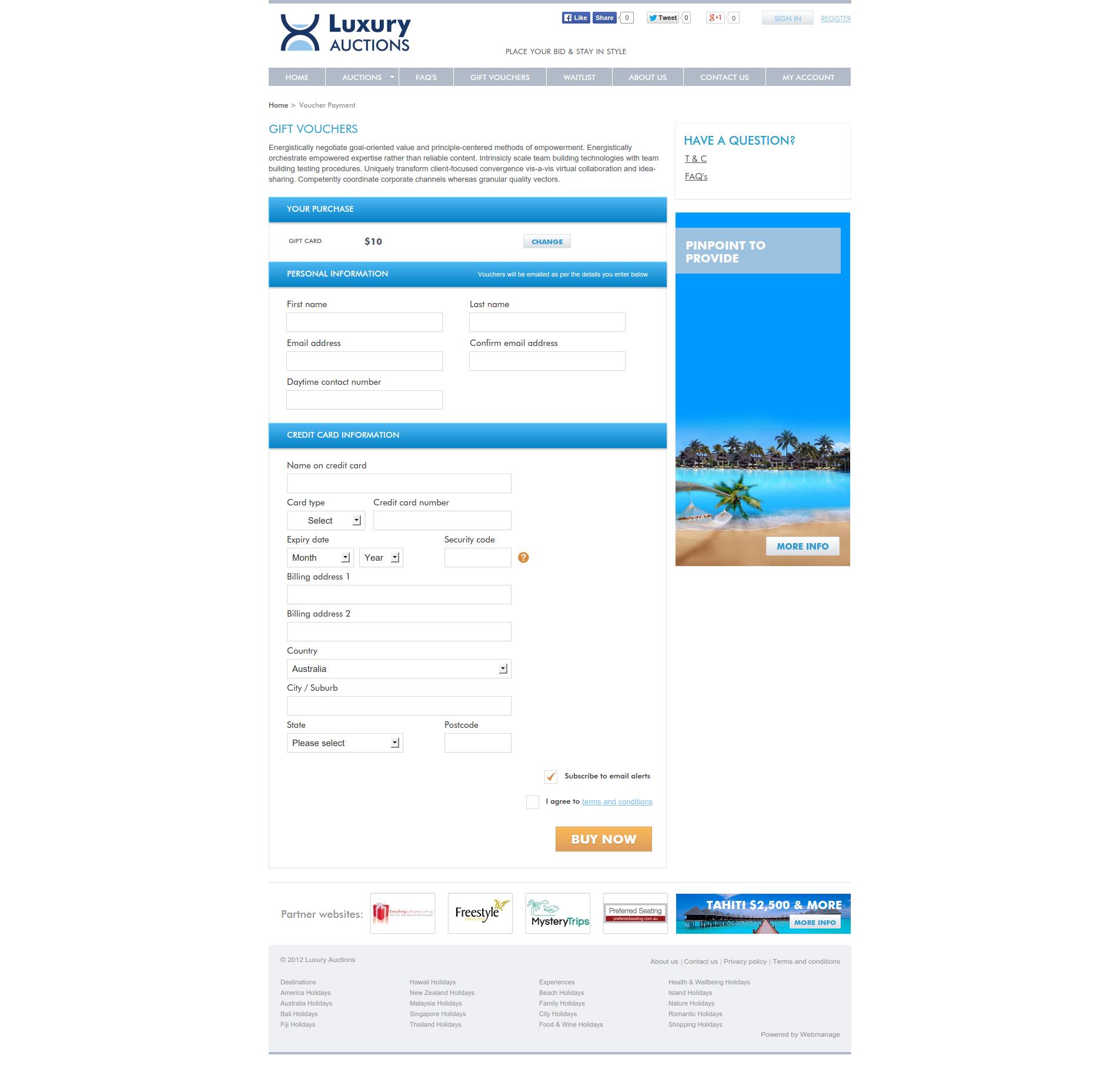 Luxury Travel Auction - Voucher Purchase